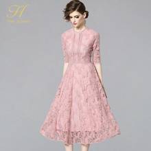 H Han Queen Women 2019 Summer Dresses Hollow Out Women Half Sleeve Floral Crochet Casual Pink Lace Dress Femininas Vestidos