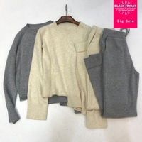 30%Wool +45% Cashmere Knit warm Suits plus size cashmere wool Sweater + Mink Cashmere Trousers Leisure Two pieces sets wq357