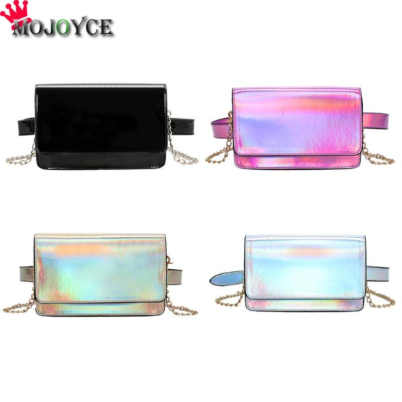 2018 New Chest Bag Women Holographic Laser Fanny Waist Pack Messenger Chain Shoulder Diagonal Handbag Fashion Casual Small