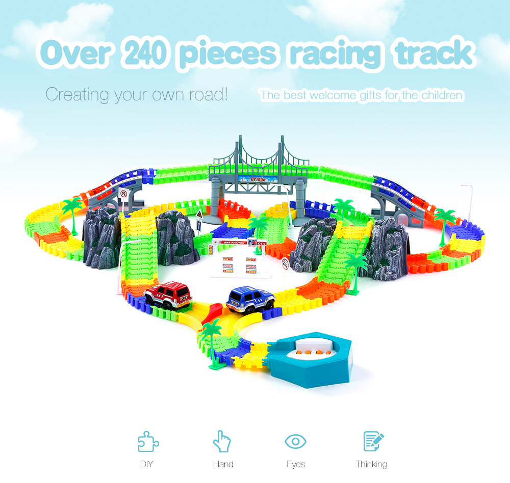 240Pcs Racing Track Toy Flexible Racing Track with Car Race Track Bend Flash Track Rollercoaster Vehicle Car Toys Gifts for Kids