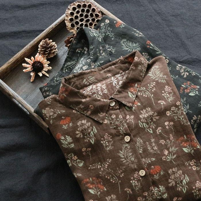 Brushed Cotton Floral Print Vintage Long Sleeve Shirt Blouse Mori Girl 2018 Autumn