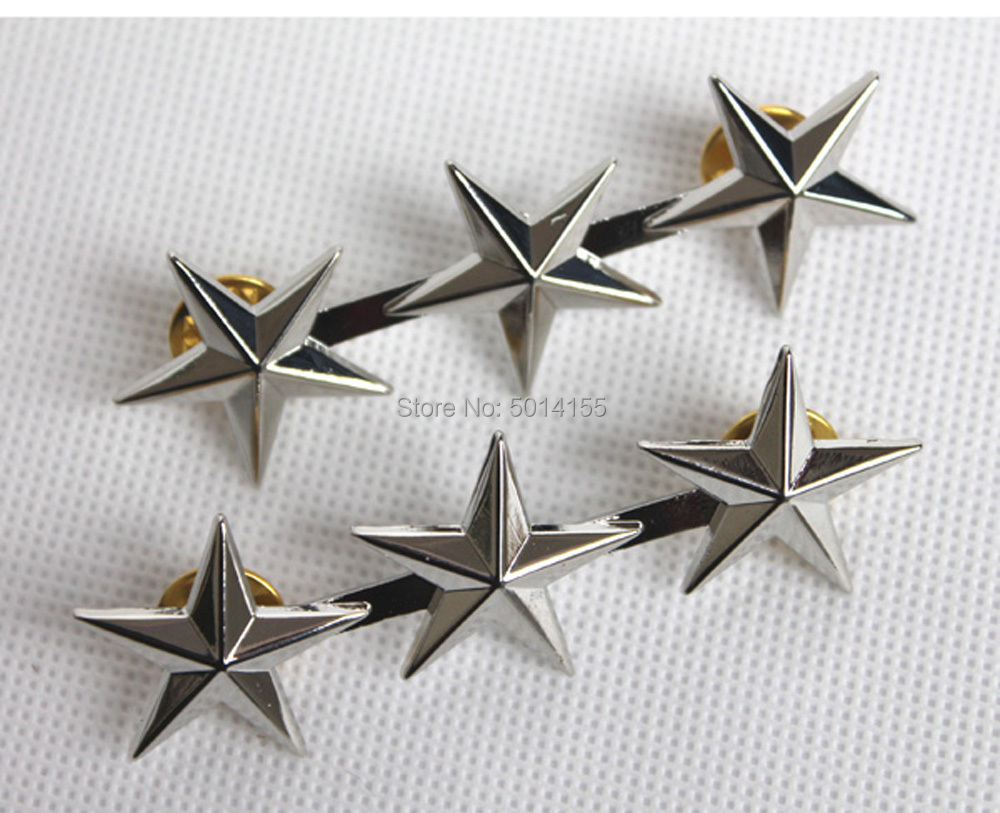Replica Military WWII US Army Officer 3 Star Lieutenant General Rank Badge Pin(China)