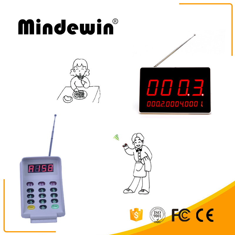 Mindewin Wireless Pagering  Restuarant Queuing System M-R-1 Digital LED Display With M-T-2 Keyboard Working For Restuaran ect