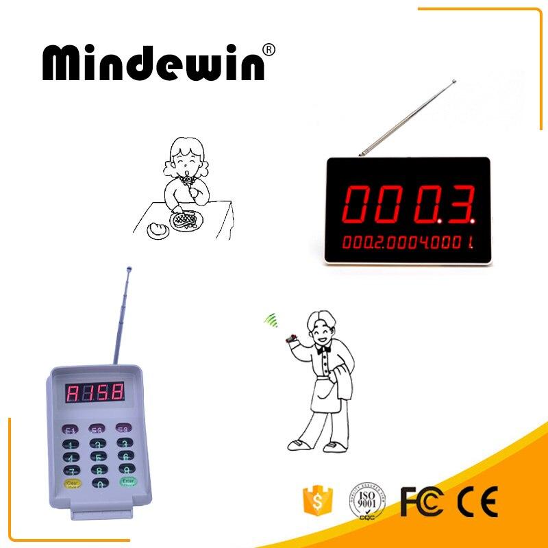 Système de mise en file d'attente de Restuarant de pagination sans fil Mindewin M-R-1 affichage LED numérique avec clavier de M-T-2 fonctionnant pour le Restuaran ect