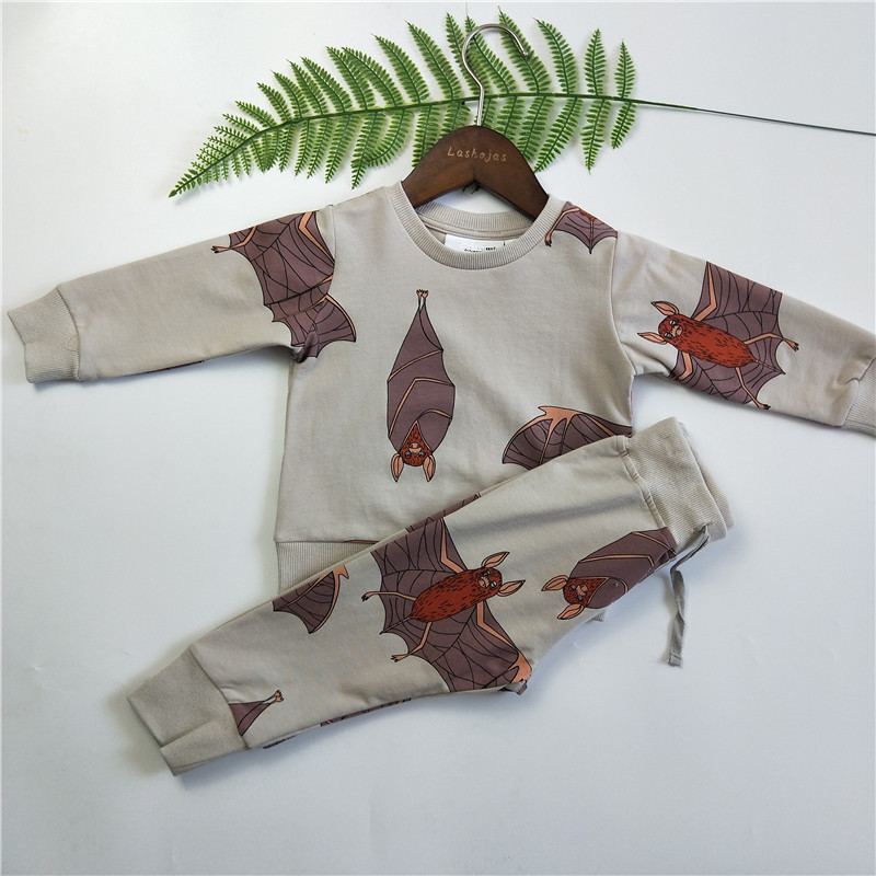 BOBOZONE Bats print thin Sweatshirt Sweatpants for kids 1-6 wings print sweatshirt and pants