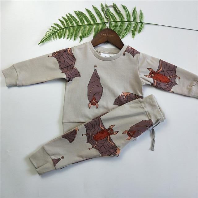 bobozone bats print thin sweatshirt sweatpants for kids 1 6 in