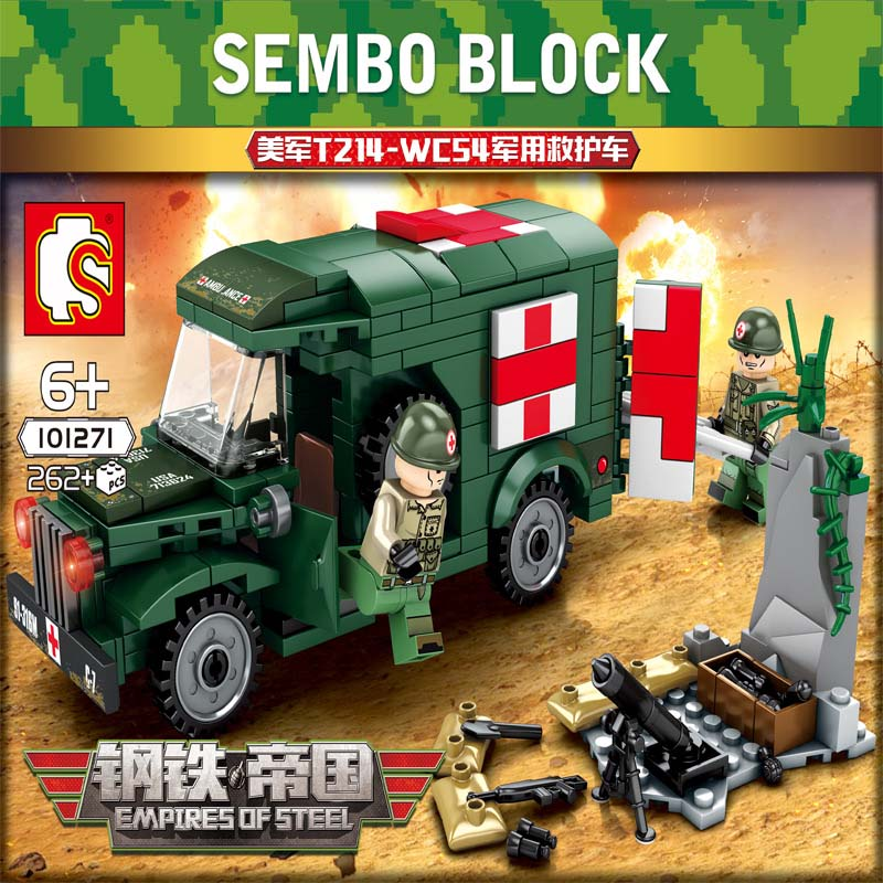 Sembo WW2 Military Ambulance Car Vehicle Building Blocks Army Truck Diy Bricks Boy Toys for Kids Birthday Gifts