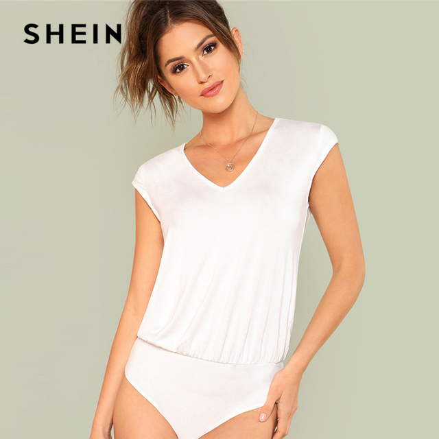 SHEIN V Neck Cap Sleeve Blouson Bodysuit 2018 White Cap Sleeve Regular Fit  Mid Waist Bodysuit Women Casual Solid Bodysuit 333ad98a1