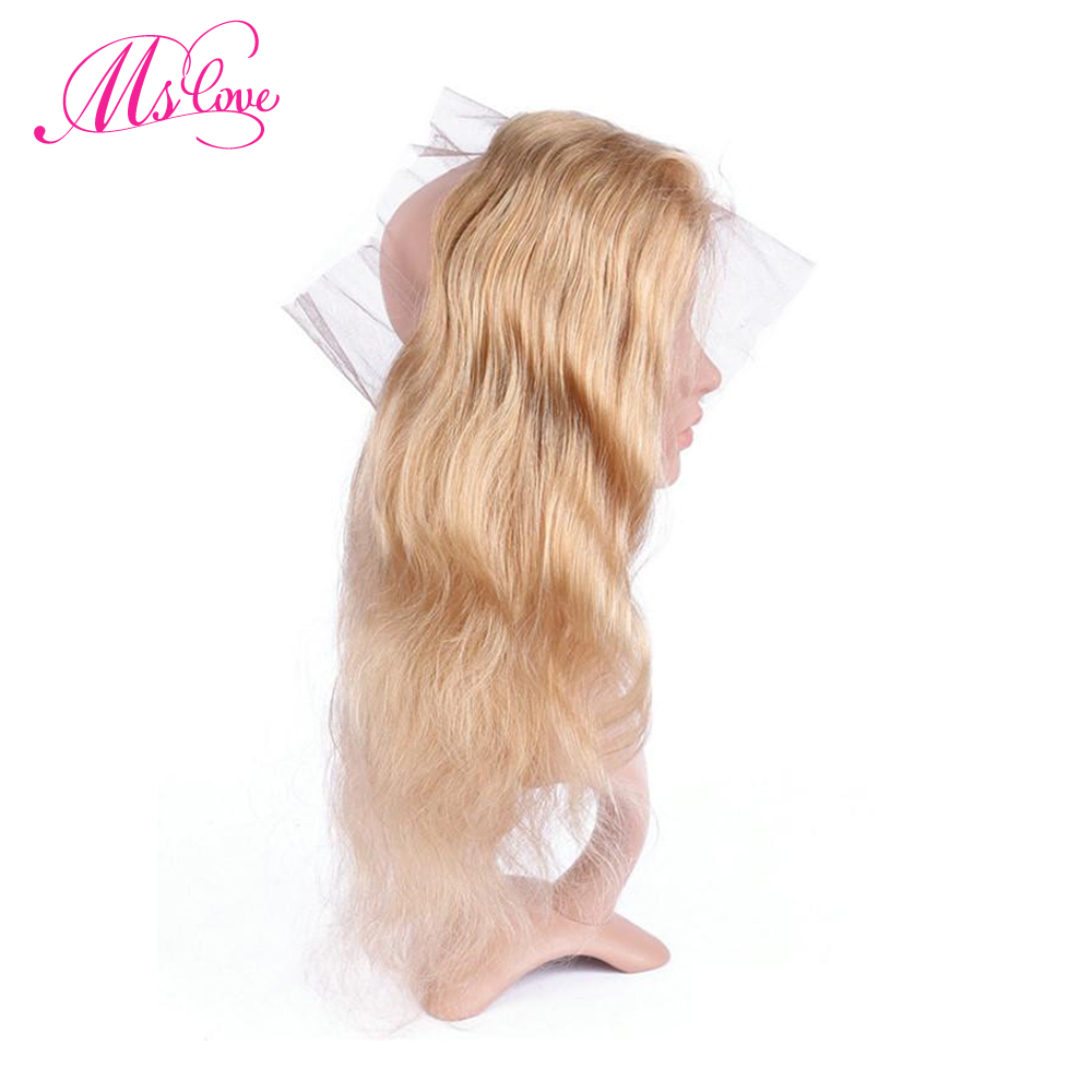 Ms Love Hair Pre Colored Pre Plucked 27 Blonde 360 Lace Frontal Human Hair Body Wave