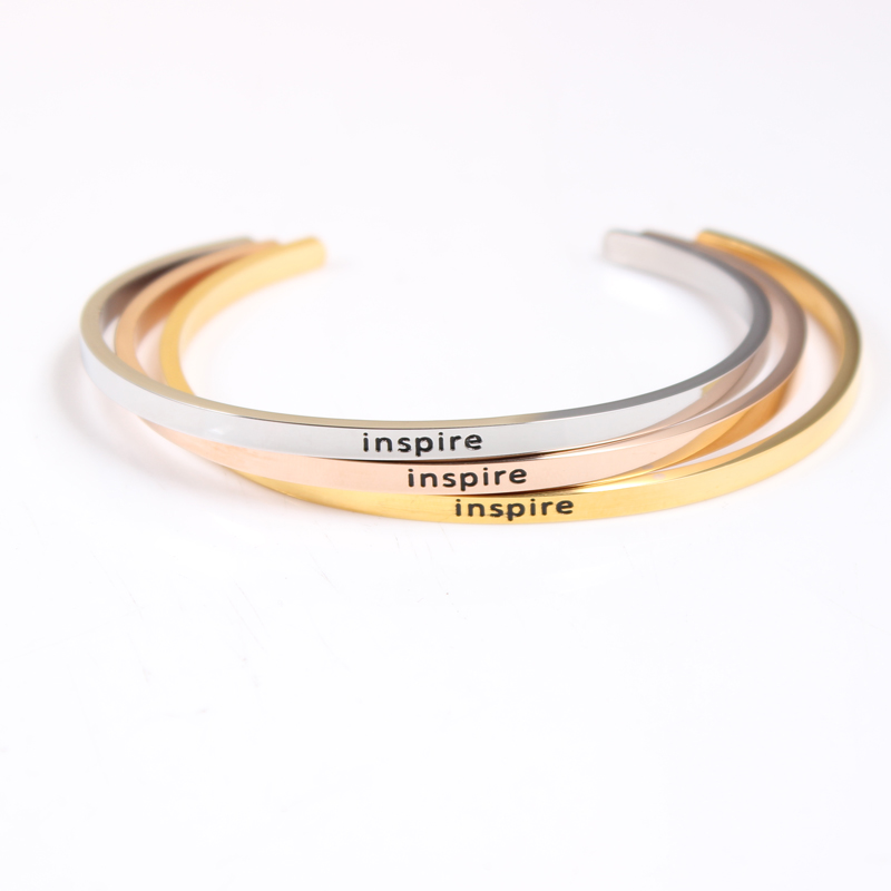 Flight Tracker The Hottest Rose Gold Color Stainless Steel Bangles Engraved Positive Inspirational Quote Open Cuff Mantra Bracelet For Women Bangles