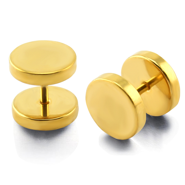 Stainless Steel Ear Studs Earring Piercing Fake Plug Tunnel Stretcher Gold Plating 8mm Or