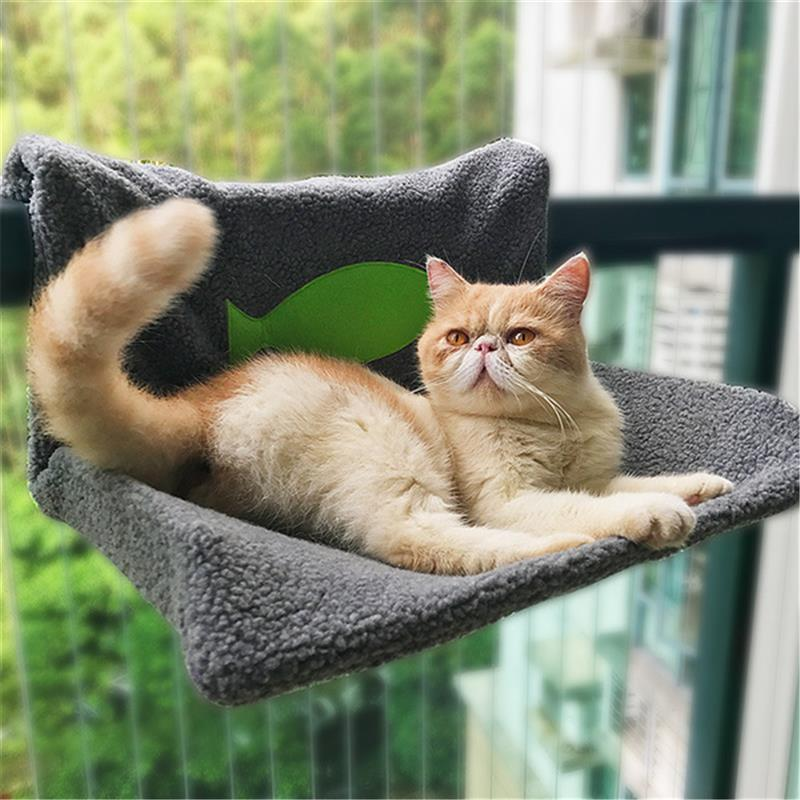 Warm Cat Kitty Radiator Hammock Bed Pet Hammocks Hanging Bed Soft Fleece Cat Beds Winter Warm Cat Window House Sofa 48*40*25cm
