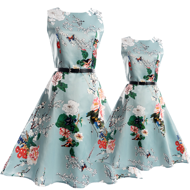 Summer Mother Daughter Dresses Sets Family Matching Outfits Big Girls Flower Dress Teenage Casual Dress Mother Daughter Clothes 2018 fashion mother daughter dresses girls lace dress family matching outfits mae e filha vestido family matching clothes