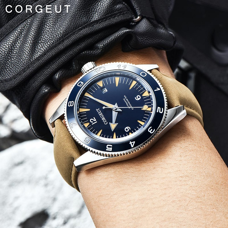 Corgeut Luxury Brand Seepferdchen Military Mechanical Watch Men Automatic Sport Design Clock Leather Mechanical Wrist Watches