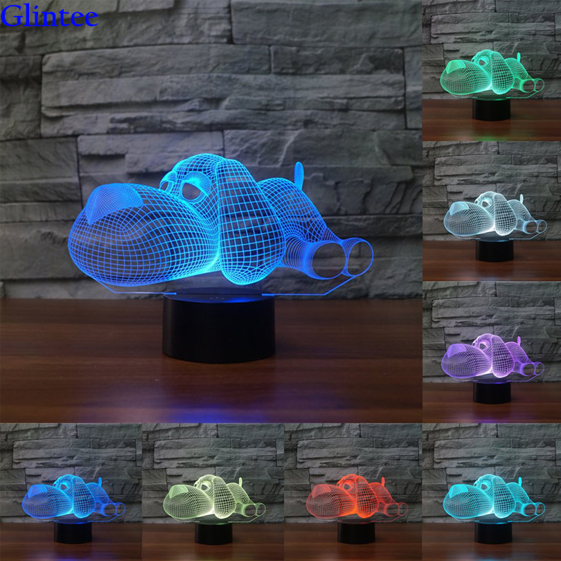 Dog Lamp 3D Night Light Kids Toy LED 3D Touch Mood Table Lamp 7 Colors Changing LED Light Christmas Decoration for Bedroom Home цена и фото