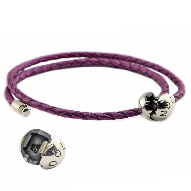 Authentic 925 Sterling Silver Jewelry Honeysuckle Pink Leather Bracelets Free Shipping