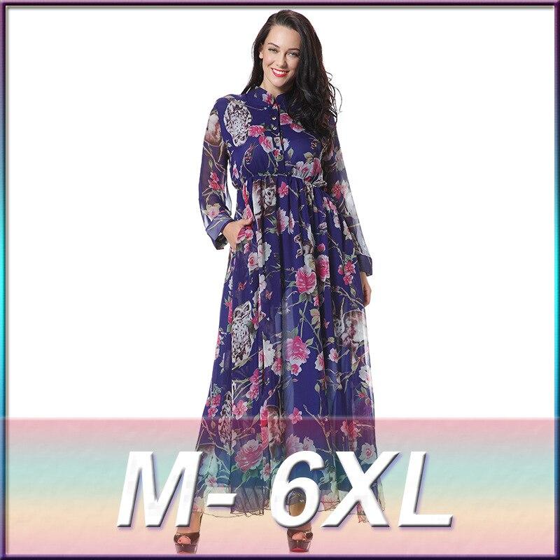 94b92a159da Printed Chiffon Dresses 6XL Plus Size Vintage Owl Women Summer Floral  Vestidos Dress Large Big Size 5XL Retro Ladies Clothing