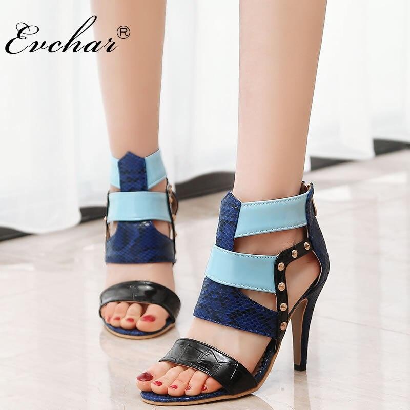 EVCHAR Women Sandals Women Summer Spring Sandalias sexy party super High Heels Shoes Woman Zipper rivets open Toe sandals 33-46
