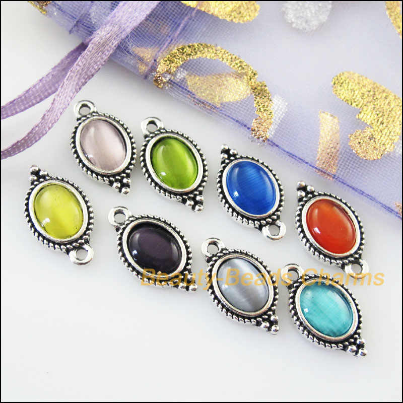 New 8Pcs Mixed Retro Tibetan Silver Cat Eye Stone Oval Charms Pendants 9x16.5mm