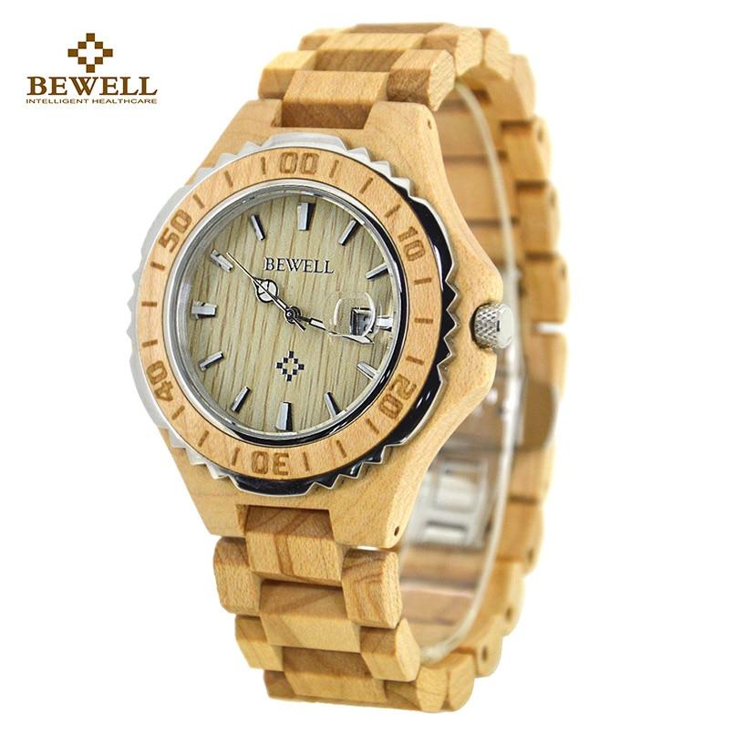 Men Wooden Watch for Male Quartz Wristwatches Sandalwood Strap Calendar Clock Luxury brand Wood Watch with Gift Box Friend 100BG