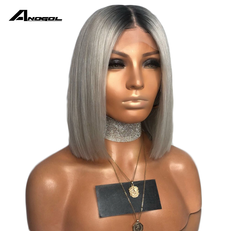Anogol Black Roots Ombre Silver Grey Short Straight Bob Synthetic Lace Front Wig For Women High Temperature Fiber Middle Part