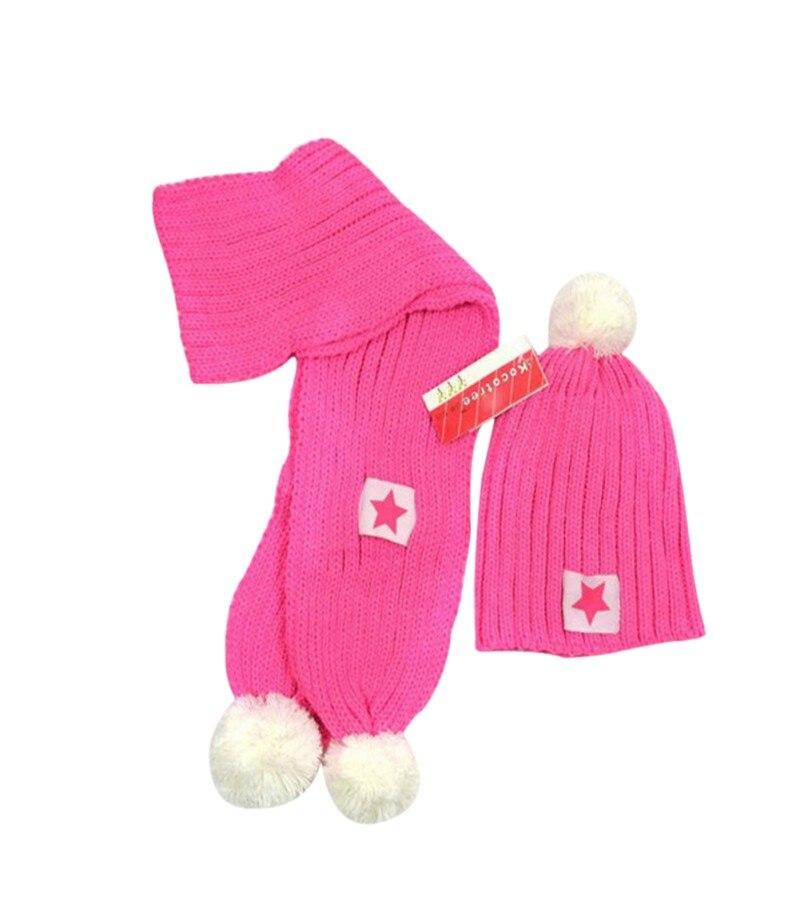 Winter Baby Girls Boys Warm Beanie Crochet Earflap Hat Scarf+ Pointed Star Cap One Set