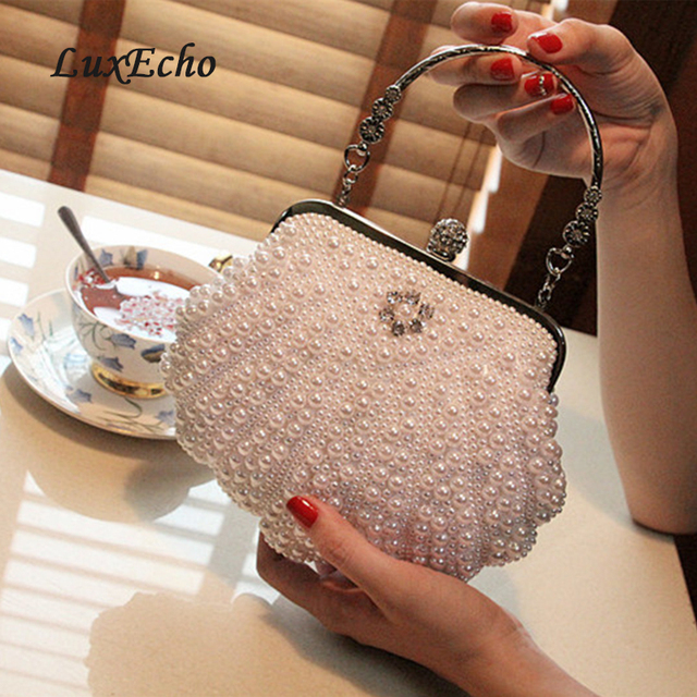 white ivory pearl bag women s handbag evening bag day clutch small handbag  bride and bridesmaids party bag with handle