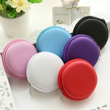 QrhYK Portable Case for Headphones Case Colorful Mini Zippered Round Storage Hard Bag Headset Box for Earphone Jewelry Case