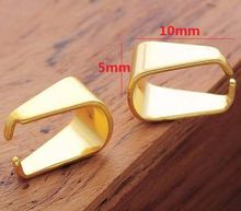 50pcs Gold Plated Stainless Steel Pendant Clasps Jewelry Findings Pinch Clip Bail Pendant Connectors Accessories(China)