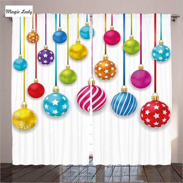 Cortinas con estrellas diferente tamaño bolas de Navidad adornado ...