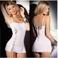 Erotic Lingerie Hot Sexy Women Product Lace Slit Bandage Sexy Night Dress Perspective Suspenders Exotic Apparel lenceria erotico