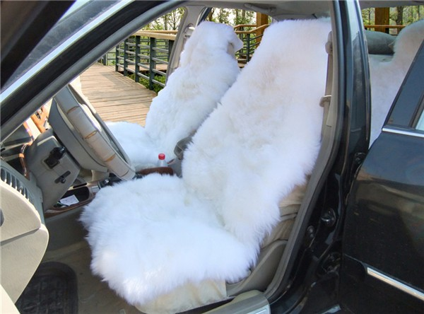 sheep car seat cover white