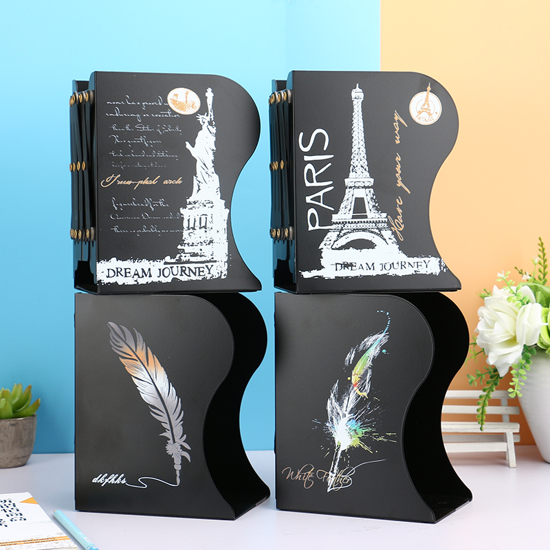 Creative Colorful Feather Bookends Metal Retractable Desktop Storage Stationery Simple Folding Book Stand Desk Accessories Shelf цена