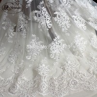 Black white Wedding Dress Lace Decoration Fabric Sequins Handmade Diy Material Embroidery Accessories RS1229
