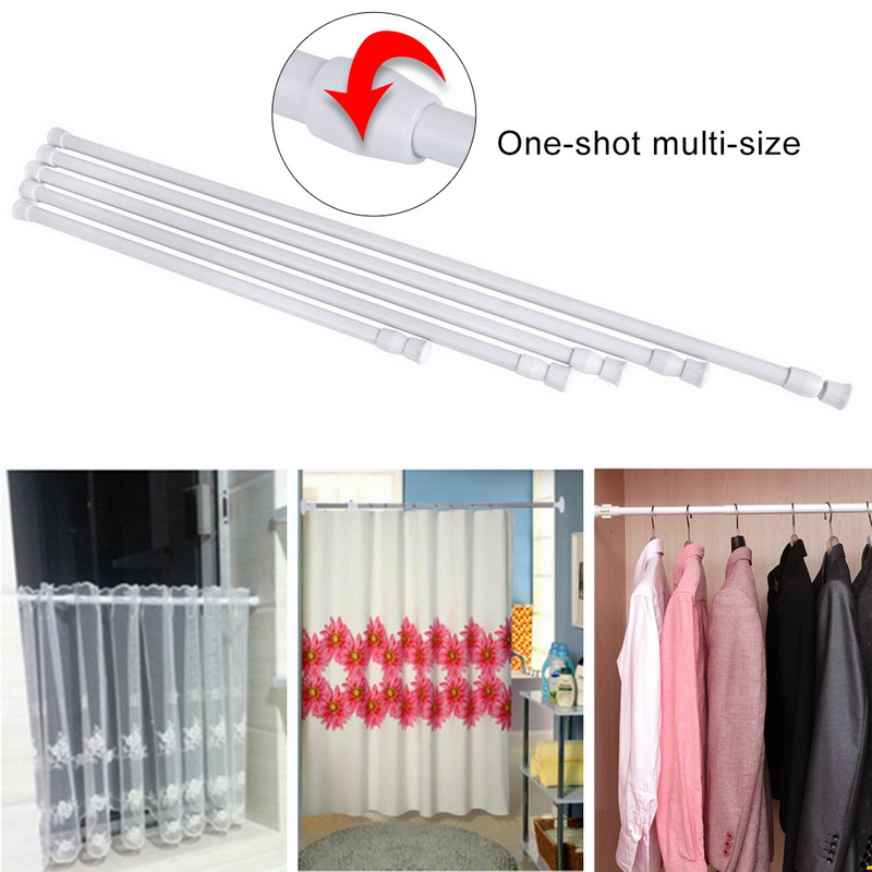 Adjustable Shower Curtain Rod.Us 1 43 32 Off Telescoping Curtain Rods Shower Curtain Rod Extendable Tension Telescopic Pole Rod Adjustable White Curtain Rod And Accessories In