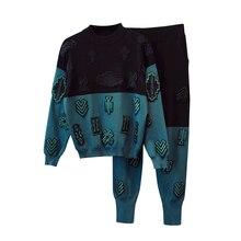 Женский трикотажный костюм с вышивкой; сезон весна-осень; темперамент; Повседневная модная одежда с вышивкой; комплект из двух предметов; TB180801
