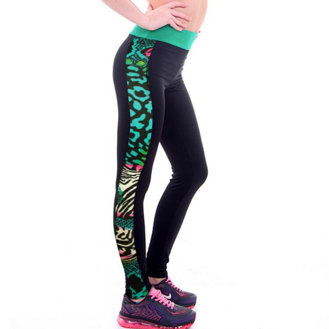 981e842e11352 Women Fashion New high waist floral printing S Shape stitching fitness  workout Activewear fitness pants leggings capris