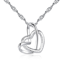 LNRRABC Hot Silver Color Stainless Steel Double Heart Cross Pendant Necklace For Woman Fashion Jewelry Drop Shipping