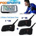 1 *V4+2 *V6 BT Interphone for Football Referee Coach Judger Bike Wireless Bluetooth Headset Intercom 3 people talk same time