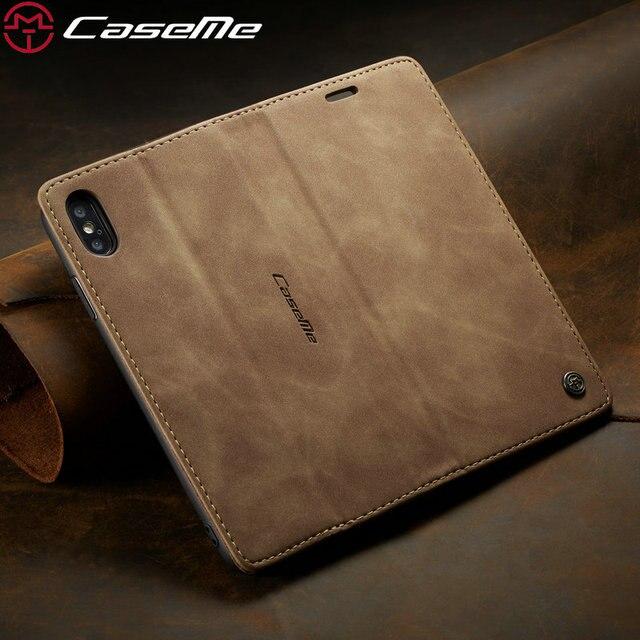 CaseMe Original Leder Brieftasche Fall Für iPhone 8 7 6 Plus Magnetische Kreditkarte Geld Slot Retro Brieftasche Fall Für iPhone xs max xr