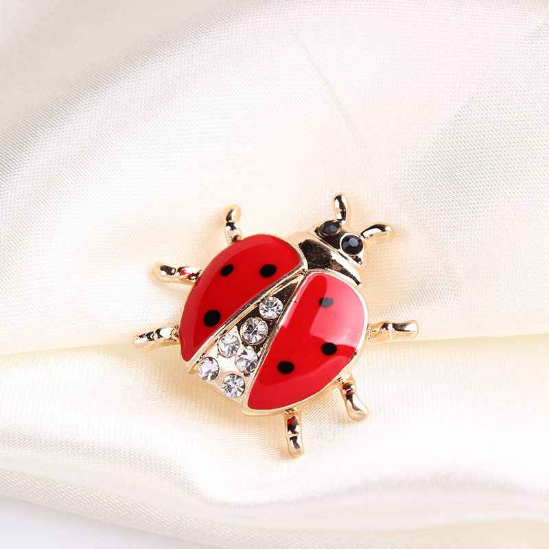 Merah Enamel Hidup Ladybug Bros untuk Wanita Anak-anak Warna Emas Kristal Serangga Bros Pin Kerah Klip Gaun Mantel Lencana Kerah pin Up