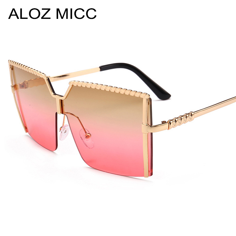 ALOZ MICC Fashion Oversize Square Sunglasses Women Metal Half Frame Gradient Sun Glasses Brand Design Female Shades Glasses Q472
