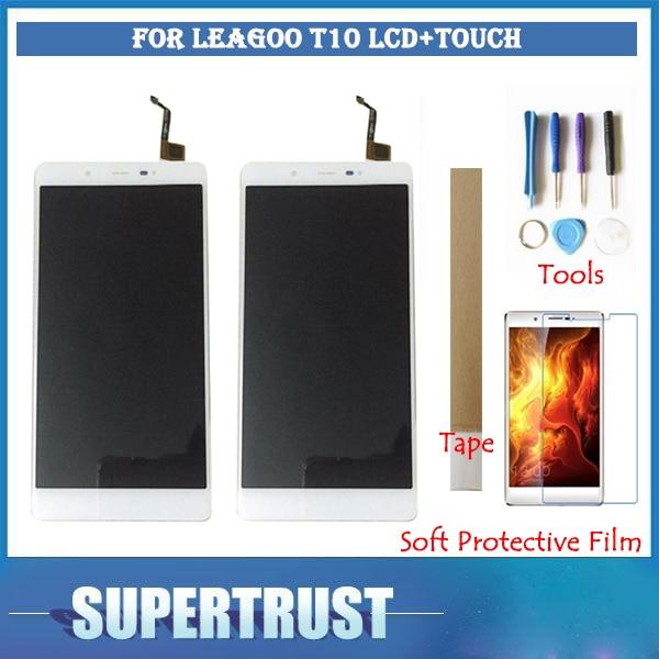 Pour LEAGOO T10 écran LCD écran tactile capteur verre remplacement noir blanc couleur avec bande et outils et Film de protection souple