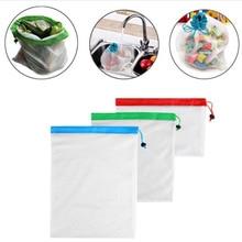 يمكن إعادة استخدامها شبكة إنتاج حقيبة صديقة للبيئة أكياس قابل للغسل للبقالة التسوق الفاكهة الخضروات اللعب أكياس التخزين