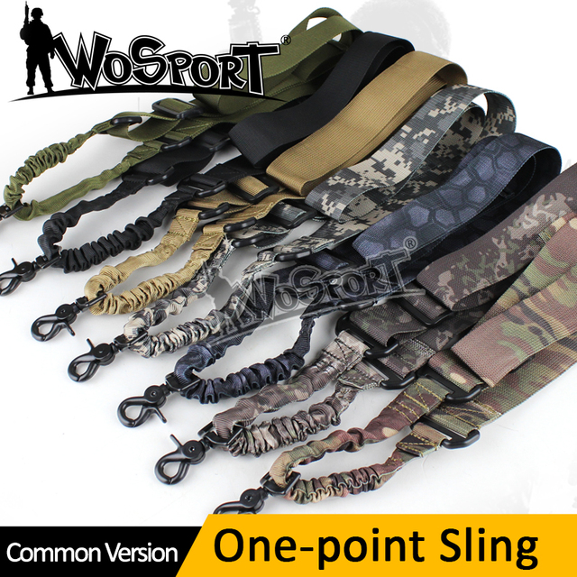 WOSPORT Tactical 1 One Point Single Airsoft Military Tactical Gun Weapon Adjustable Nylon Bungee Sling System Khaki Strap