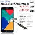 Wisonda 0.3mm de vidro temperado para samsung galaxy a3 a5 a7 j1 J2 J3 J5 J7 2015 2016 2017 Filme Protetor de Tela Do Telefone case