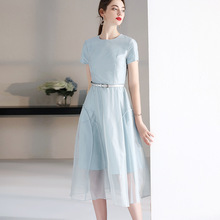 Midi Dress Summer 2019 Women's New French Style Perspective Patchwork Round Neck Short Sleeves Solid Color Slim A-Line Dress S-L grey crossed front design round neck long sleeves midi dress