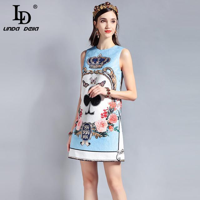 Sleeveless Sequin Beading Jacquard Floral Print Vintage Casual Dress