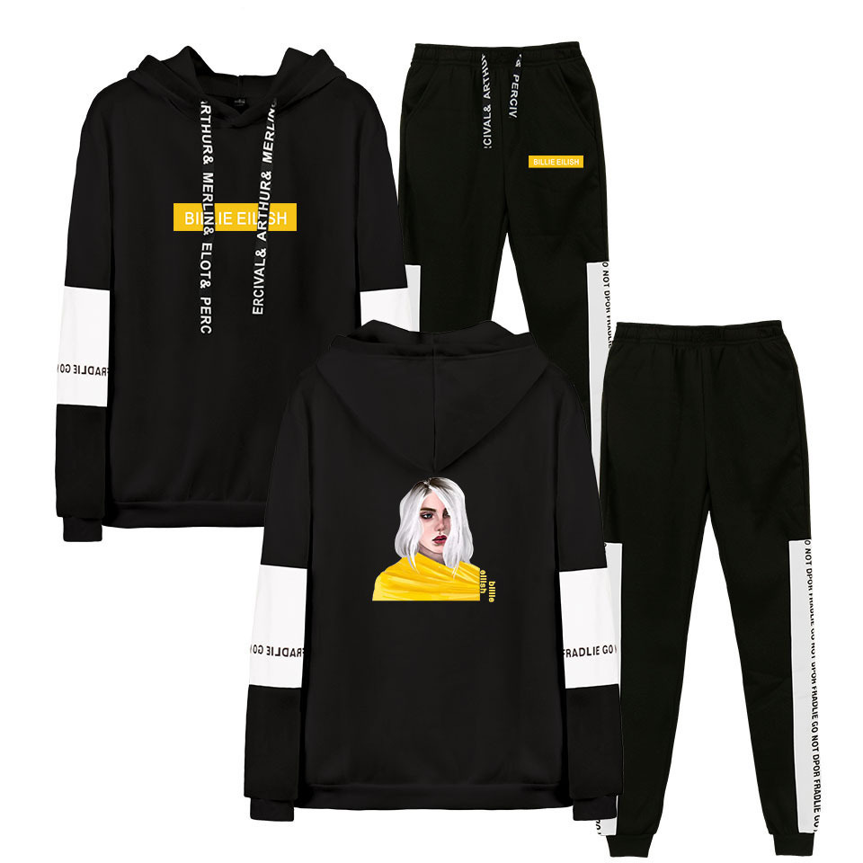 Men's Sets 2019 Billie Eilish Men Sportswear Set Hip Hop Hoodies And Pants Two Piece Set Casual Tracksuit Jogger Suit Streetwear