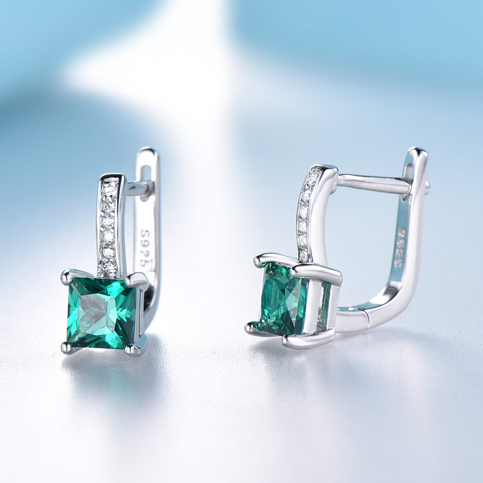 UMCHO Created Green Emerald Gemstone Clip Earrings For Women Solid 925 Sterling Silver Anniversary Gifts For UMCHO Created Green Emerald Gemstone Clip Earrings For Women Solid 925 Sterling Silver Anniversary Gifts For Women Accessories